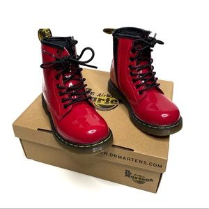 Dr. Martens Delaney Patent Red Lace Up Boots Youth